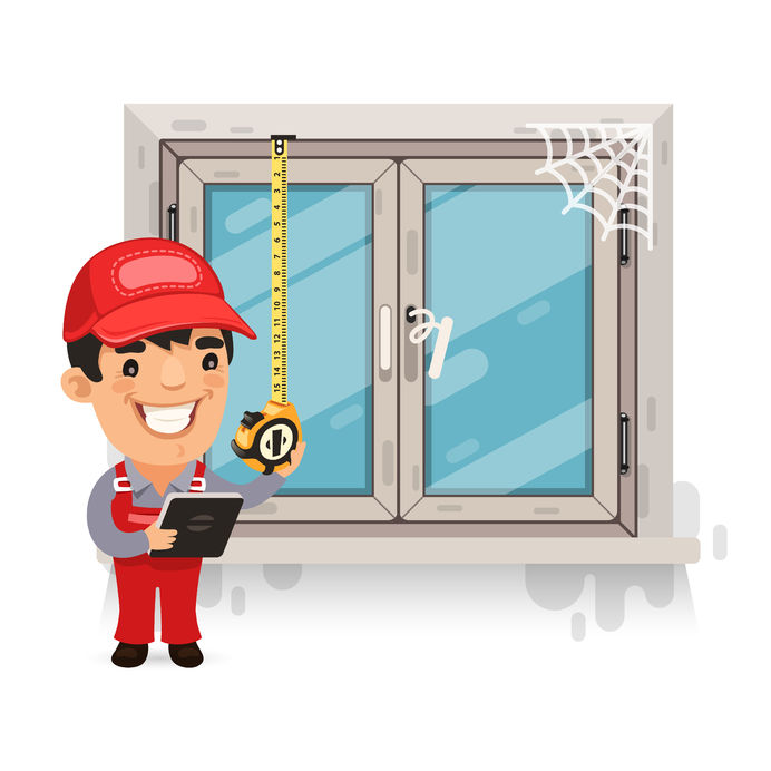 39800838 - carpenter measures the old window