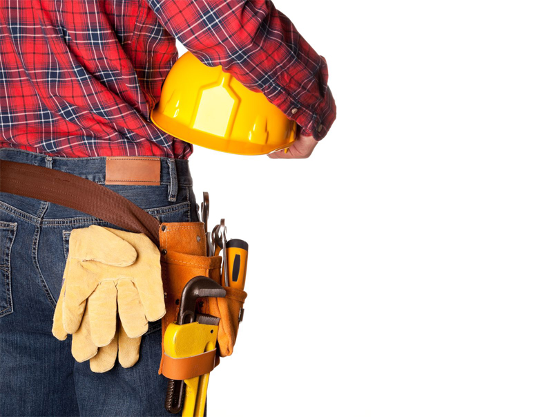 12454306 - construction worker with toolbelt on white